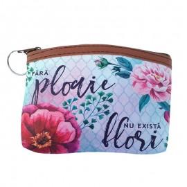 Breloc tip portofel cu flori