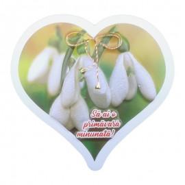 Magnet inima - flori de primavara