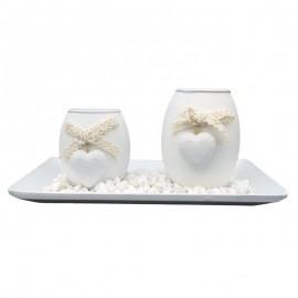 Set 2 candele - suport patrat
