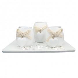Set 3 candele - suport patrat