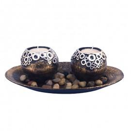 Set 2 candele lemn cu farfurie rotunda