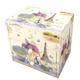 Caseta lemn cu 3 sertare - vintage