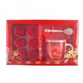 Set cana cu lingurita si sapun trandafir - Love