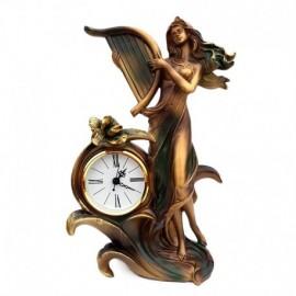Decoratiune - fata cu harpa si ceas