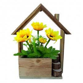 Suport lemn casa cu floarea soarelui