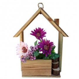 Suport lemn casa cu crizanteme