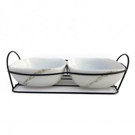 Suport metal - 2 boluri ceramica