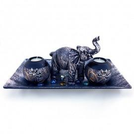 Set 2 candele lemn, farfurie si elefant
