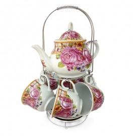 Set 6 cesti cu farfurii si ceainic - flori