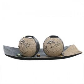Set 2 suporturi de lumanare sferic