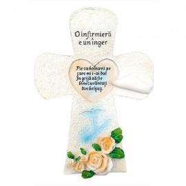 Cruce cu flori si text
