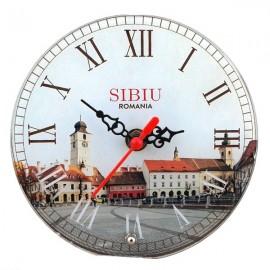Ceas sticla cu Sibiu (20 cm)