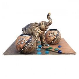 Candela lemn - boluri cu pastila si elefant